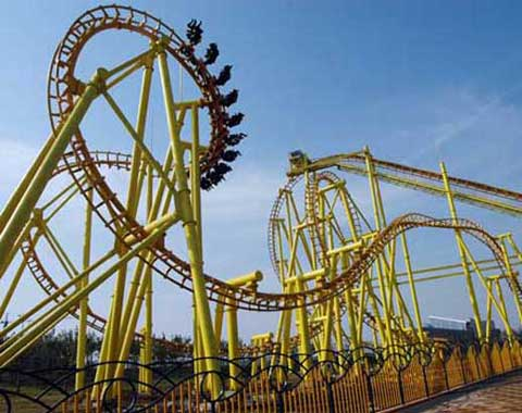 Classic Roller Coaster in amusement park