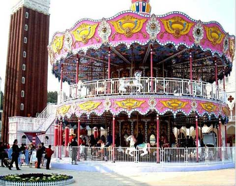 A Carousel With Double Decker