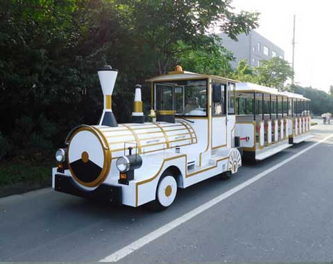 White Trackless Train for Tourists